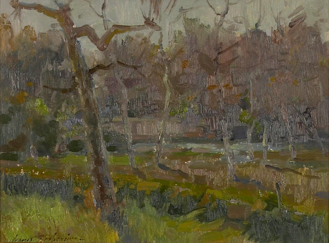Ovanes Berberian (American, born 1951) Trees in the Arroyo 9 x 12in