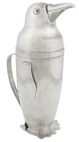 An Emil Schuelke silver plated Penguin cocktail shaker 1930s, for the Napier Co