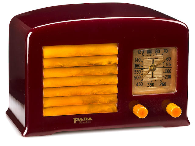 A Fada maroon and marbleized yellow radio<br>model 53, 1938