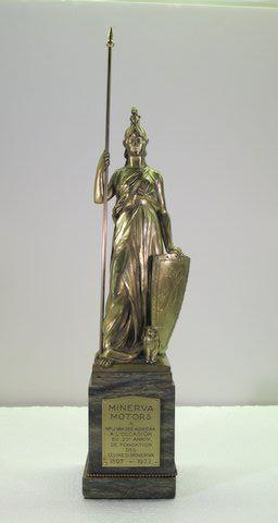 An original Minerva statue with spear, by P. Desoete,
