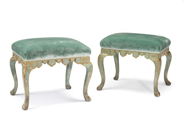 A pair of Venetian Rococo paint decorated stools   third quarter 18th century