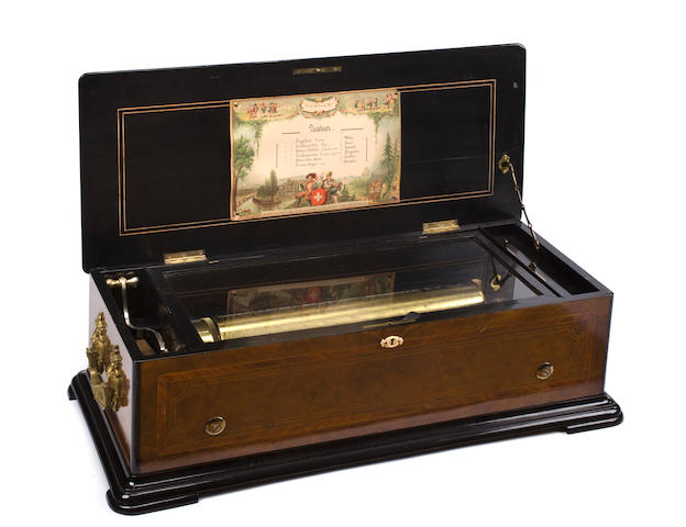 A 'Quatuor' Mandoline music box, playing six airs circa 1885, probably by Paillard,
