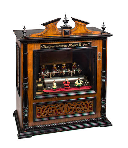 A rare coin-operated 'Forte Piccolo Timbres Dansenses' buffet cylinder music box, by Samuel Troll circa 1880,
