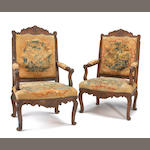 A pair of Regence oak fauteuil a la Reine<br>early 18th century