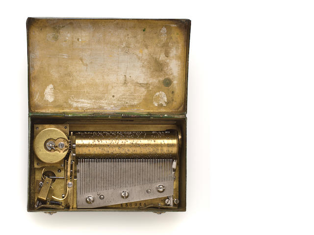A small tinplate-cased musical snuffbox, circa 1840,