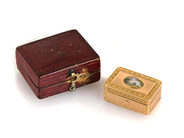 An early and important veri-gold and enamel musical vinagrette, Swiss, stamped C&J, in the manner of Henri Capt, circa 1812,