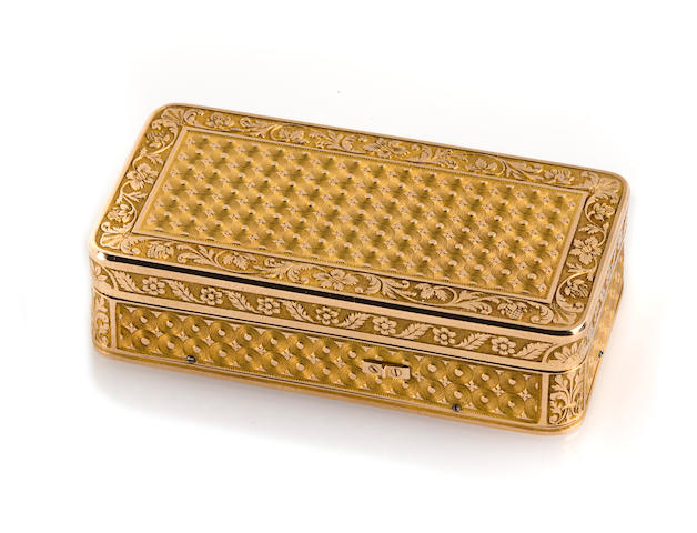 A fine gold music snuffbox, Swiss, by Piquet & Meylan, circa 1810,