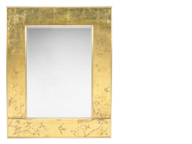 High Style Gilt leaf and brass large wall mirror, by repute estate of Margaret Peck, Sacramento