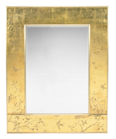 A Modern Chinoiserie paint decorated gold leaf and brass wall mirror Mid 20th Century