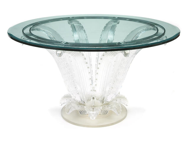 A Marc Lalique Cactus center table designed circa 1951, this example created in 1982