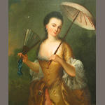 Follower of Jean-Baptiste Santerre (Magny-en-Vexin 1651-1717 Paris) A lady with a parasol 28 x 22 3/4in