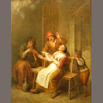 Manner of David Teniers II Men smoking in a tavern; A man and woman singing in an interior (a pair) each 17 x 13 1/4in