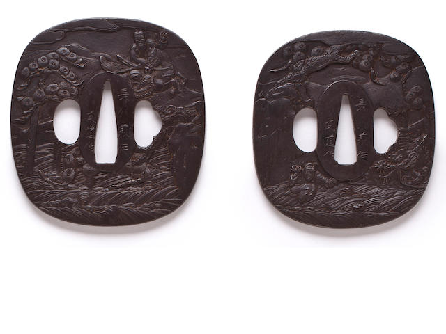 A pair of Choshu daisho tsuba By Tomomichi, 19th century