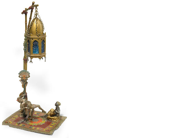 An Austrian cold painted bronze Dancer and Mandolin Player lamp circa 1900