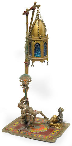 An Austrian cold painted bronze Dancer and Mandolin Player lamp circa 1900