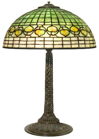 A Tiffany Studios Favrile glass and patinated bronze Vine and Leaf lamp 1899-1918