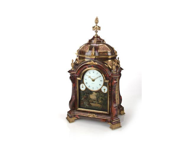 A fine and rare George III ormolu mounted tortoiseshell six-tune musical bracket clock with automatonsigned Mason, London.