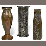 Two Heinz Art Metal Company sterling on bronze vases early 20th century