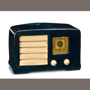 An Emerson marbleized blue and white radio. model AX-235, 1938 (pending additional research)