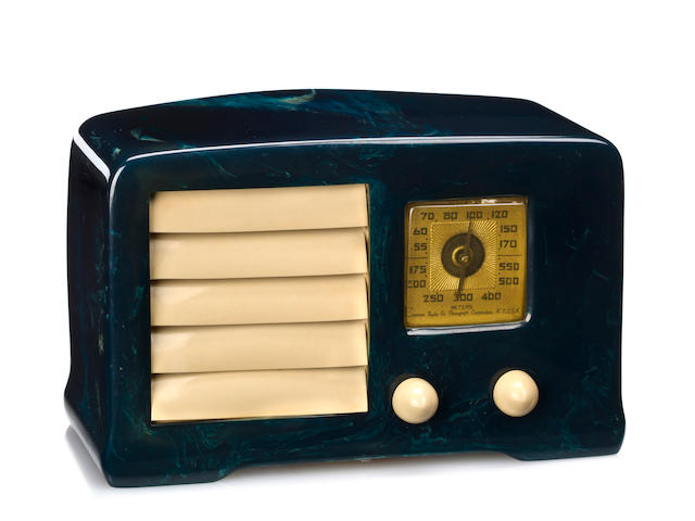 An Emerson marbleized blue and white radio<br>model AX-235, 1938 (pending additional research)