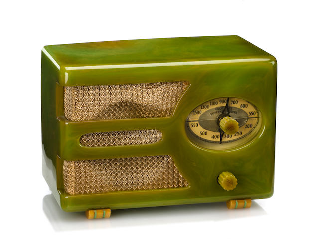 An Automatic Radio Mfg. Co. marbleized green and yellow Tom Thumb radio<br>designed by J. Samson Spencer, 1938
