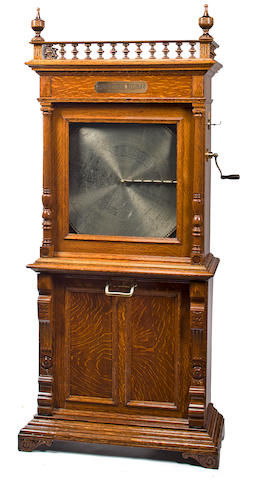 A coin-operated 27-inch Regina 'Orchestral' disc music box, style No. 5, circa 1897,