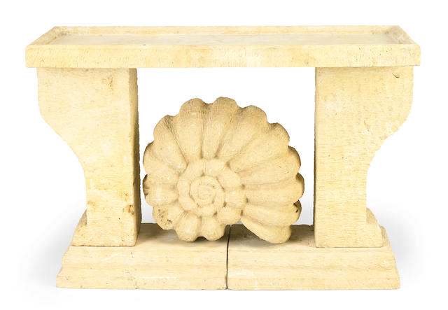 Attributed to Jean-Charles Moreux (1889-1956) and Bolette Natanson A carved limestone console, 1930s