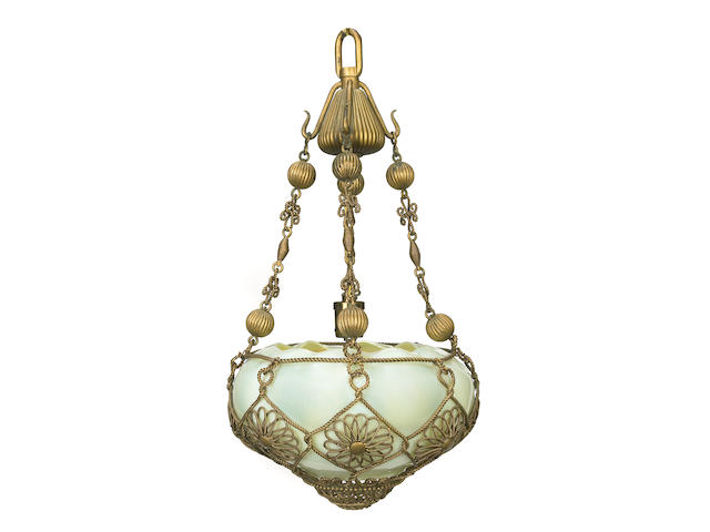 A Tiffany Studios gilt metal and Favrile glass Moorish Chandelier