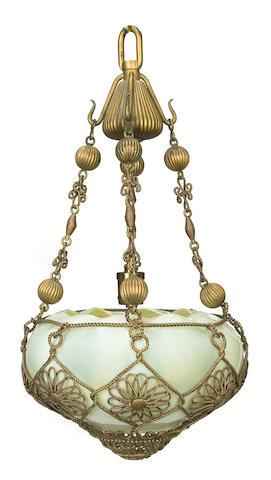 A Tiffany Studios gilt metal and Favrile glass Moorish Chandelier circa 1900