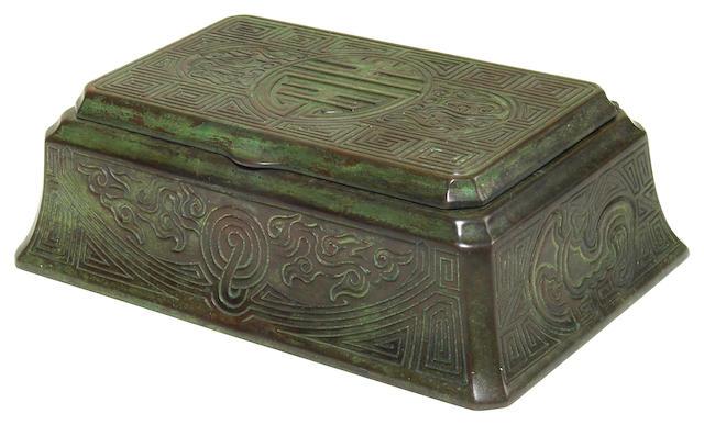 A Tiffany Studios patinated bronze Chinese pattern box 1899 - 1918