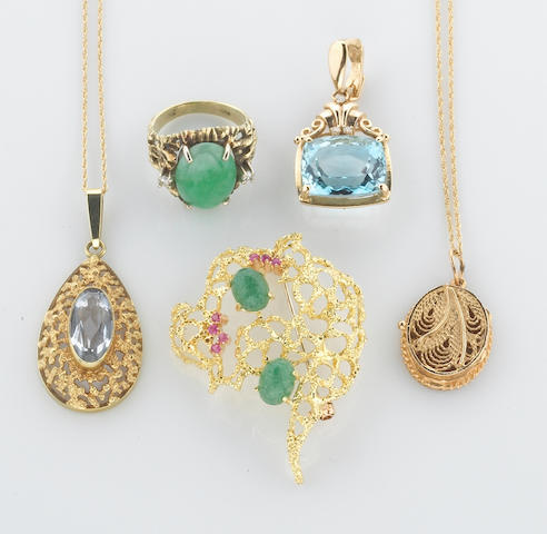 A collection of jade, ruby, aventurine, aquamarine, blue topaz, diamond and 14k gold jewelry