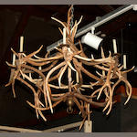 A deer antler eight-light chandelier