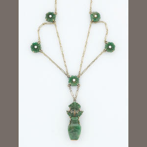 A jadeite jade and cultured pearl swag necklace