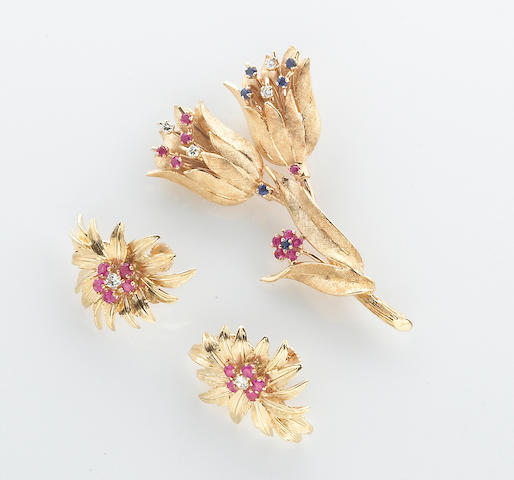 A ruby, sapphire, diamond and 14k gold retro brooch together with a pair of diamond, ruby and 14k gold retro screwback earrings