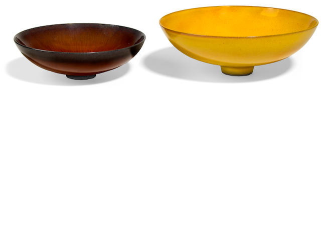 James Lovera (American, born 1920) two high glazed earthenware bowls