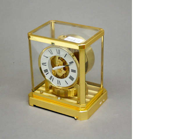 A Jaeger Le Coultre lacquered brass Atmos clock  serial number 311141<br>caliber 528-8<br>third quarter 20th century