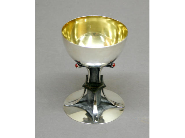Hand Wrought Sterling, Jasper and Jade Chalice by Gene Lasnier