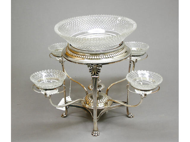 Sheffield Plate Four Arm Epergne Frame with Five Period Glass Fittings