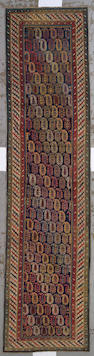 A Kuba runner Caucasus, size approximately 3ft. 4in. x 13ft. 8in.