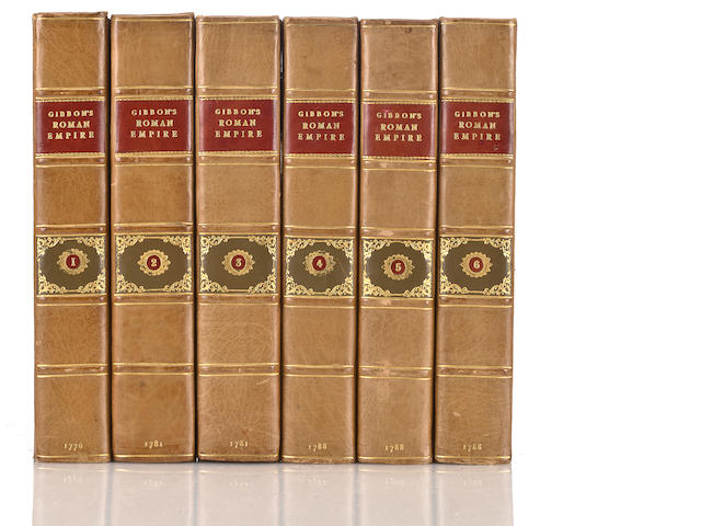 Gibbon, Edward. The History of the Decline and Fall of the Roman Empire. London: W. Strahan, T. Cadell, 1776-1788. 6 volumes. Portrait frontispiece. 3 folding maps. Errata & half-titles for each volume. 4to. Period calf, rebacked. Foxing at ends. First edition, first state of vol 1