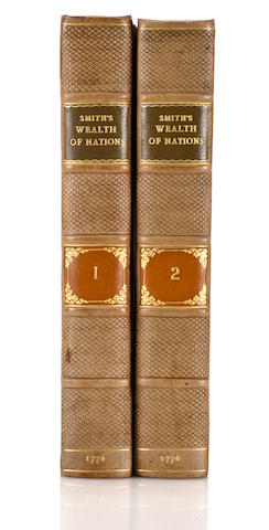 Smith, Adam. An Inquiry into the Nature and Causes of the Wealth of Nations. London: Strahan & Cadell, 1776. 2 volumes. 4to. Period diced calf, worn at corners and rebacked. Lacking final blank in vol 1