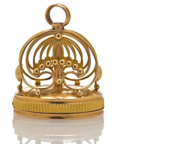 A fine gold musical fob,  Swiss, circa 1815,