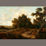 English School, 19th Century A wooded landscape with peasants resting in a clearing 25 1/2 x 33 1/4in