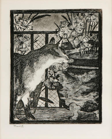 Manet Le Chat etching;