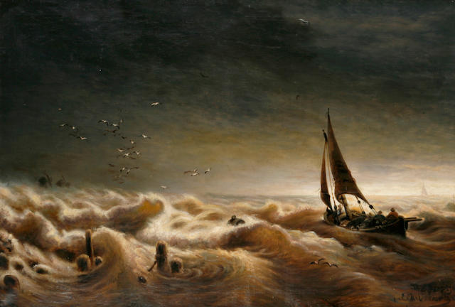 A boat in stormy seas