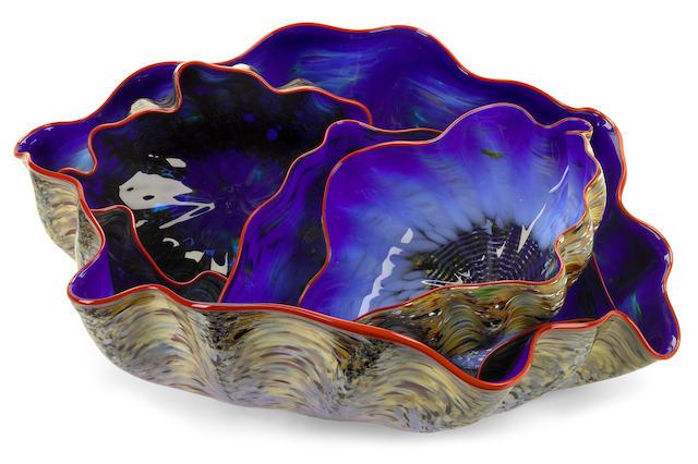 Dale Chihuly (American, born 1941) Four Piece Macchia Seaform, 2002