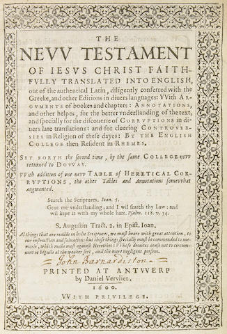 [BIBLE.] The New Testament of Jesus Christ. Antwerp: Daniel Vervliet, 1600.