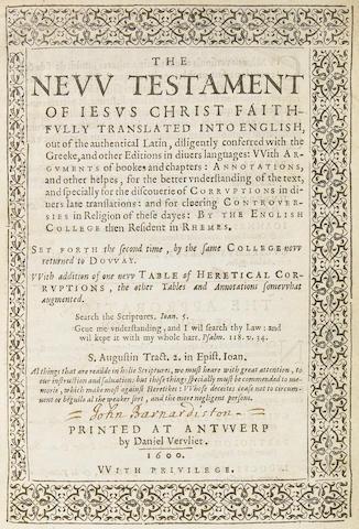 [BIBLE.] The New Testament of Jesus Christ. Antwerp: Daniel Vervliet, 1600.