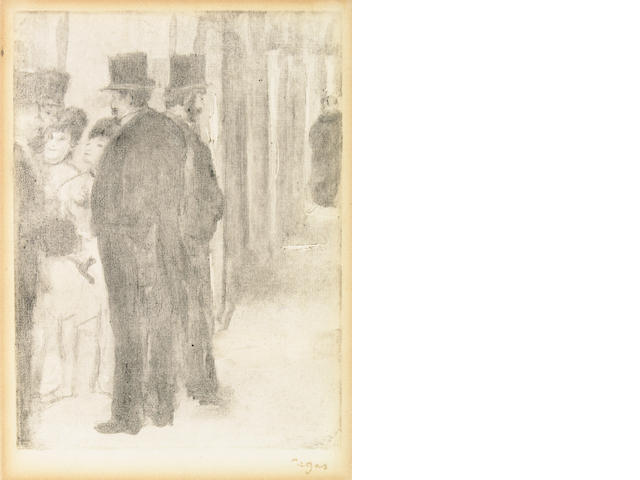 in on inspection--Edgar Degas Pauline and Virginie cardinal conversing with admirers (Adh. 66) monotype with stamped signature