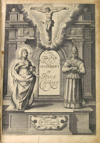 [BIBLE.] The New Testament ...Translated ... by the English Colledge ... in Rhemes. [Rouen?]: John Cousturier, 1633.